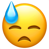 Downcast Face With Sweat Emoji on Apple macOS and iOS iPhones