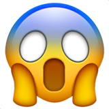 Face Screaming in Fear Emoji on Apple macOS and iOS iPhones