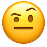 Face With Raised Eyebrow Emoji on Apple macOS and iOS iPhones