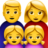 Family: Man, Woman, Girl, Girl Emoji on Apple macOS and iOS iPhones