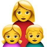 Family: Woman, Girl, Boy Emoji on Apple macOS and iOS iPhones