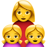 Family: Woman, Girl, Girl Emoji on Apple macOS and iOS iPhones