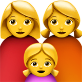 Family: Woman, Woman, Girl Emoji on Apple macOS and iOS iPhones