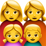 Family: Woman, Woman, Girl, Boy Emoji on Apple macOS and iOS iPhones