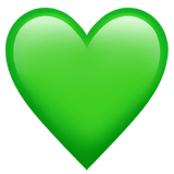 Green Heart Emoji on Apple macOS and iOS iPhones