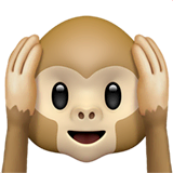 Hear-no-evil Monkey Emoji on Apple macOS and iOS iPhones