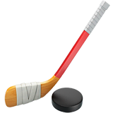 Stick y disco de hockey sobre hielo en Apple macOS y iOS iPhones