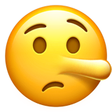 Lying Face Emoji on Apple macOS and iOS iPhones