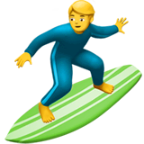 Man Surfing Emoji on Apple macOS and iOS iPhones