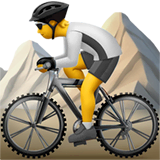Person Mountain Biking Emoji on Apple macOS and iOS iPhones