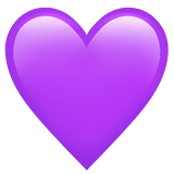 Corazón morado en Apple macOS y iOS iPhones