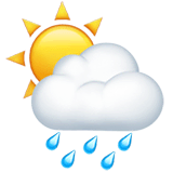 Sun Behind Rain Cloud Emoji on Apple macOS and iOS iPhones