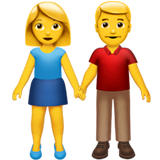 Woman And Man Holding Hands Emoji on Apple macOS and iOS iPhones
