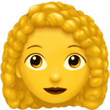 Woman: Curly Hair Emoji on Apple macOS and iOS iPhones