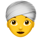 Mujer con turbante en Apple macOS y iOS iPhones