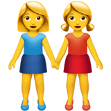 Women Holding Hands Emoji on Apple macOS and iOS iPhones
