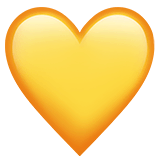 Cuore giallo su Apple macOS e iOS iPhones