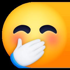 Cara ruborizada con una mano tapando la boca Emoji Facebook