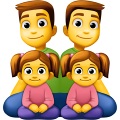 Family: Man, Man, Girl, Girl Emoji on Facebook