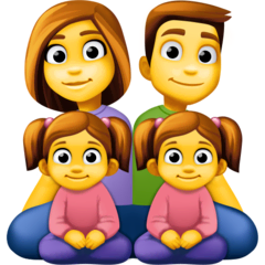 Family: Man, Woman, Girl, Girl Emoji on Facebook