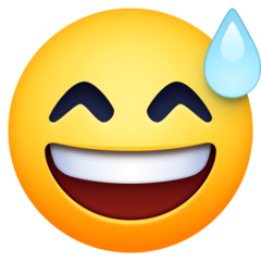 Grinning Face With Sweat Emoji on Facebook