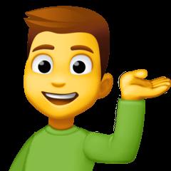 Hombre atendiendo en un mostrador de información Emoji Facebook