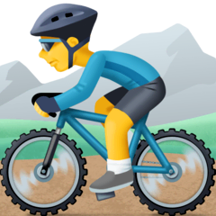 Person Mountain Biking Emoji on Facebook