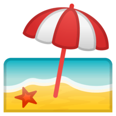 Beach With Umbrella Emoji on Google Android and Chromebooks