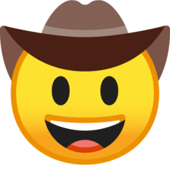 Cowboy Hat Face Emoji on Google Android and Chromebooks
