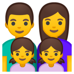 Family: Man, Woman, Girl, Girl Emoji on Google Android and Chromebooks