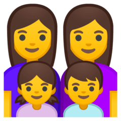 Family: Woman, Woman, Girl, Boy Emoji on Google Android and Chromebooks