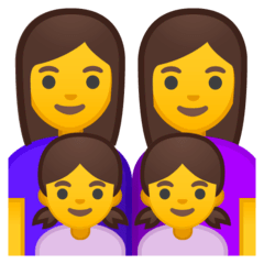 Family: Woman, Woman, Girl, Girl Emoji on Google Android and Chromebooks