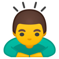 Homme s'inclinant pour saluer Émoji Google Android, Chromebook