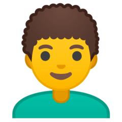 Man: Curly Hair Emoji on Google Android and Chromebooks