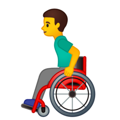 Man In Manual Wheelchair Emoji on Google Android and Chromebooks