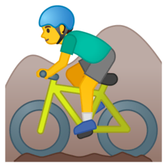 Man Mountain Biking Emoji on Google Android and Chromebooks