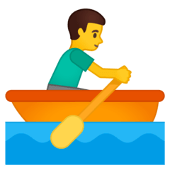 Man Rowing Boat Emoji on Google Android and Chromebooks