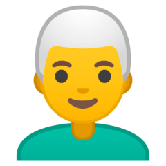 Man: White Hair Emoji on Google Android and Chromebooks