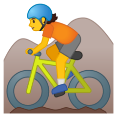 Person Mountain Biking Emoji on Google Android and Chromebooks