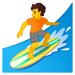 Person Surfing Emoji on Google Android and Chromebooks
