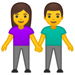 Woman And Man Holding Hands Emoji on Google Android and Chromebooks