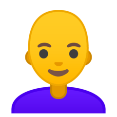 Woman: Bald Emoji on Google Android and Chromebooks