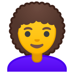 Woman: Curly Hair Emoji on Google Android and Chromebooks