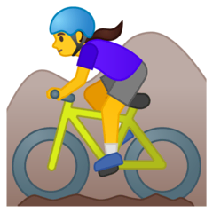Woman Mountain Biking Emoji on Google Android and Chromebooks