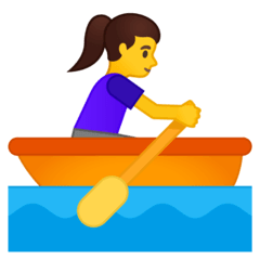 Woman Rowing Boat Emoji on Google Android and Chromebooks