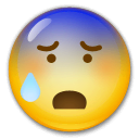 Anxious Face With Sweat Emoji on LG Phones