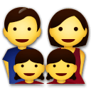 Family: Man, Woman, Girl, Girl Emoji on LG Phones