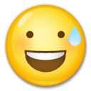 Grinning Face With Sweat Emoji on LG Phones