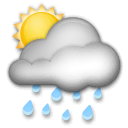 Sun Behind Rain Cloud Emoji on LG Phones