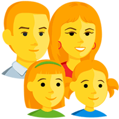 Family: Man, Woman, Girl, Girl Emoji in Messenger